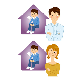 子供の引きこもりに悩む男女のイラスト素材 [FYI04899892]
