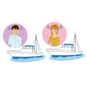 船酔いをする男女のイラスト素材 [FYI04899895]