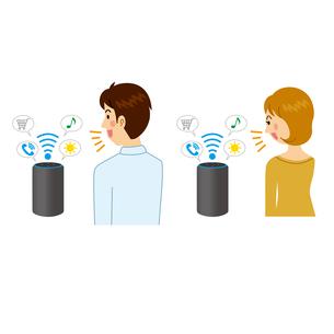 スマート家電を使う男女のイラスト素材 [FYI04899905]
