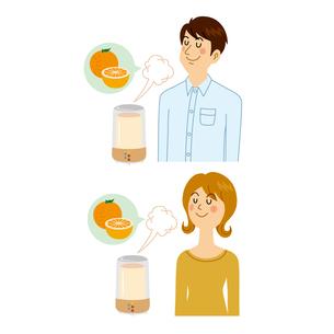 アロマディフューザーを香る男女のイラスト素材 [FYI04899907]