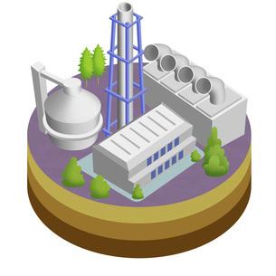 地球温暖化を防ぐクリーンな再生可能エネルギーとしてのバイオマス発電 バリエーションありのイラスト素材 [FYI04900054]