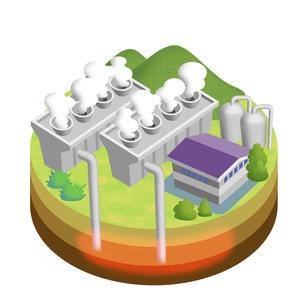 地球温暖化を防ぐクリーンな再生可能エネルギーとしての地熱発電 バリエーションありのイラスト素材 [FYI04900058]