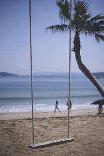 福岡市糸島市の海岸のフォトジェニックな撮影スポット - ヤシの木ブランコの写真素材 [FYI04900268]