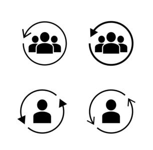 回転する矢印と人物のアイコンセットのイラスト素材 [FYI04900723]