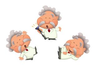 白衣でゴキゲンな笑顔の男性の理科博士のイラスト素材 [FYI04900955]