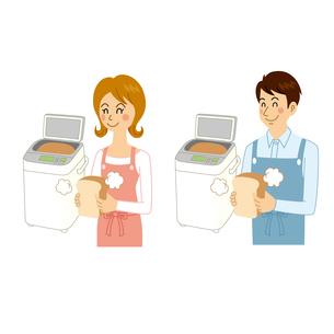 ホームベーカリーでパンを作る男女のイラスト素材 [FYI04901086]