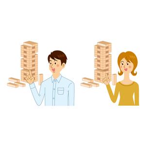 ジェンガをする男女のイラスト素材 [FYI04901089]