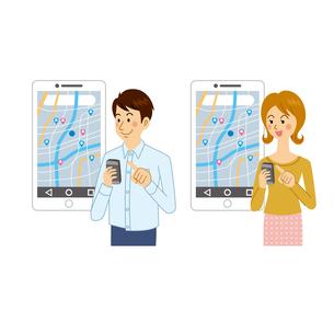 地図アプリを使う男女のイラスト素材 [FYI04901092]