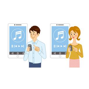 音楽アプリを使う男女のイラスト素材 [FYI04901094]