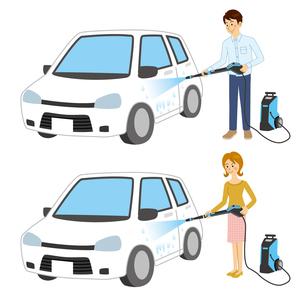 高圧洗浄機で車を洗う男女のイラスト素材 [FYI04901106]