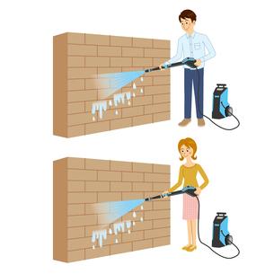 高圧洗浄機を使って壁を洗う男女のイラスト素材 [FYI04901110]