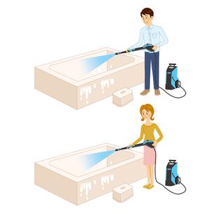 高圧洗浄機を使って風呂を洗う男女のイラスト素材 [FYI04901111]