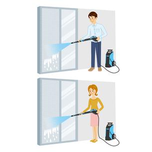 高圧洗浄機を使って網戸を洗う男女のイラスト素材 [FYI04901112]
