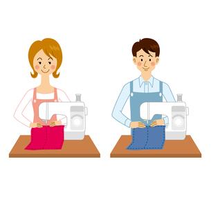 ミシンを使う男女のイラスト素材 [FYI04901120]