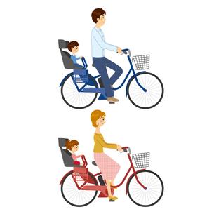 電動アシスト自転車に乗る男女のイラスト素材 [FYI04901123]