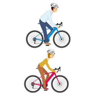ebikeに乗る男女のイラスト素材 [FYI04901126]