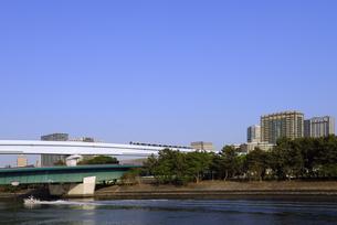 豊洲ぐるり公園から見る東雲運河と新交通ゆりかもめの写真素材 [FYI04901311]