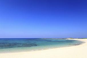 奄美大島土森海岸の青く澄んだ美しい海で遊ぶ人たちの写真素材 [FYI04901449]