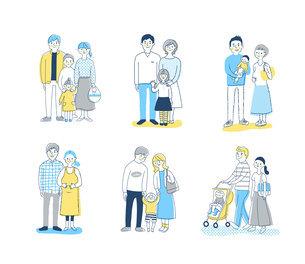 6組の若い家族 全身 セットのイラスト素材 [FYI04901503]