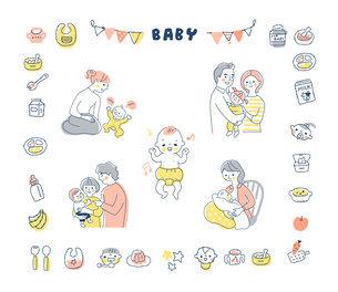 赤ちゃんと家族 アイコン セットのイラスト素材 [FYI04901510]