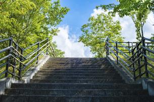 【夏】風と雲が流れる屋外の公園の階段の写真素材 [FYI04901788]