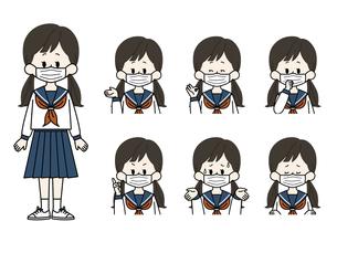 マスクをしている女子学生の表情セットのイラスト素材 [FYI04901824]