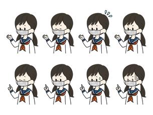 マスクをしている女子学生の表情セットのイラスト素材 [FYI04901827]