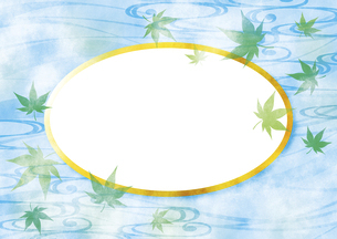 青紅葉と楕円型の枠 テクスチャのイラスト素材 [FYI04901846]