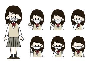 マスクをしている女子学生の表情セットのイラスト素材 [FYI04901856]