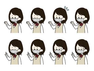 マスクをしている女子学生の表情セットのイラスト素材 [FYI04901859]
