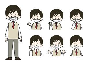 マスクをしている男子学生の表情セットのイラスト素材 [FYI04901862]