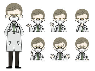 マスクをしている男性医師の表情セットのイラスト素材 [FYI04901916]