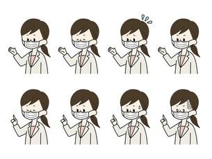 マスクをしている女性医師の表情セットのイラスト素材 [FYI04901939]