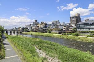 三条大橋を見る鴨川風景の写真素材 [FYI04902001]