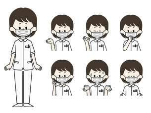 マスクをしている看護師の表情セットのイラスト素材 [FYI04902012]