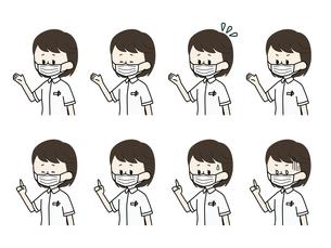 マスクをしている看護師の表情セットのイラスト素材 [FYI04902015]
