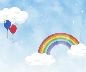 虹の架かった青空-水彩のイラスト素材 [FYI04902035]
