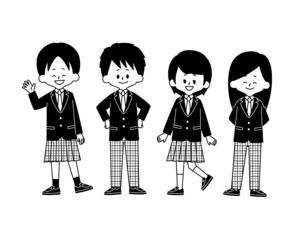 学生服の自由選択-白黒のイラスト素材 [FYI04902044]
