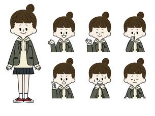 女子学生の表情セットのイラスト素材 [FYI04902045]