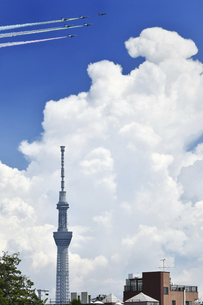 ブルーインパルスのオリンピック記念飛行の写真素材 [FYI04902547]