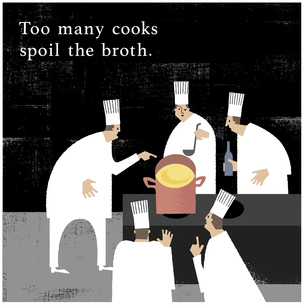 料理人が多すぎるとスープがだめになるのイラスト素材 [FYI04902571]