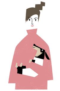女性とダックスのイラスト素材 [FYI04902572]