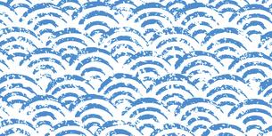 手描き風の和柄背景(青海波)青のイラスト素材 [FYI04902594]