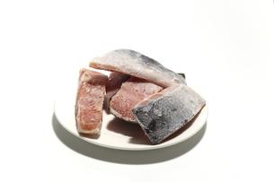 冷凍した鮭の切り身の写真素材 [FYI04902641]