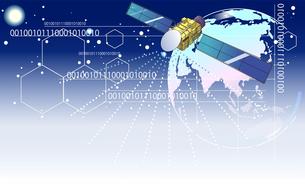 人工衛星やコンピュータテクノロジー背景イラストのイラスト素材 [FYI04902685]