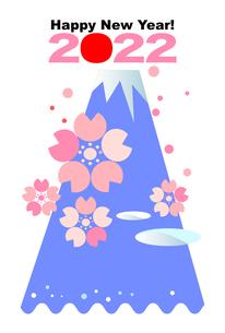 2022年の年賀状ハガキ,富士山と桜と波のイラスト素材 [FYI04902687]