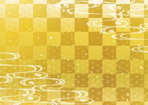 流水と市松模様 和柄背景のイラスト素材 [FYI04902696]