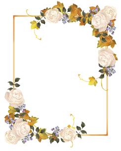 薔薇と紅葉のフレームのイラスト素材 [FYI04902702]