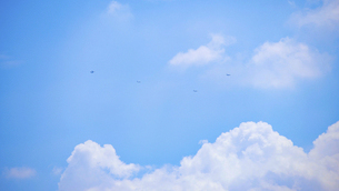 遠くの空を飛ぶ飛行機の編隊の写真素材 [FYI04902987]