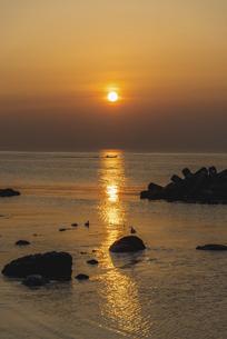 日の出と共に出港するウニ漁船の写真素材 [FYI04903056]
